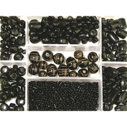 Box of glass beads, black,...