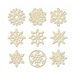 Houten sneeuwvlokken