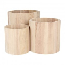 set of 3 round wooden vases