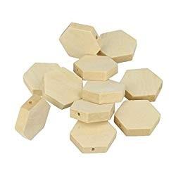 15 Hexagonal Wood Beads