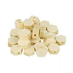 25 Hexagonal Wood Beads