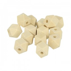 14 Polygon shaped wooden beads