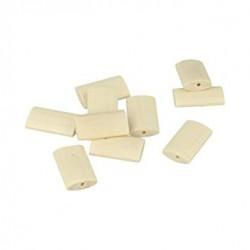 10 flat wooden beads