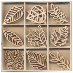 Miniature wooden leaves