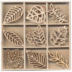 Miniatuur houten bladeren