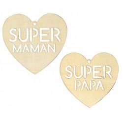 Coeur en bois Super Maman /...