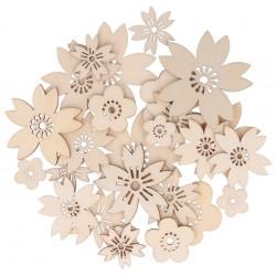 30 fleurs japonaises en bois