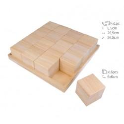 Plateau et 16 cubes en bois