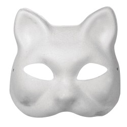 Masque en papier-mâché, chat